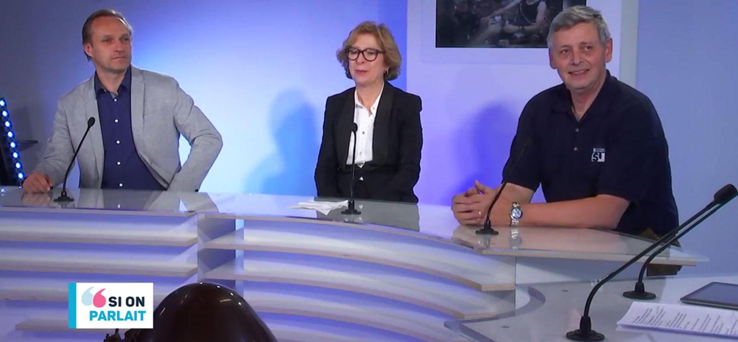 Mathieu Barthélémy,  Geneviève Fioraso et Jean-Jacques Favier sur le plateau de Télégrenoble
