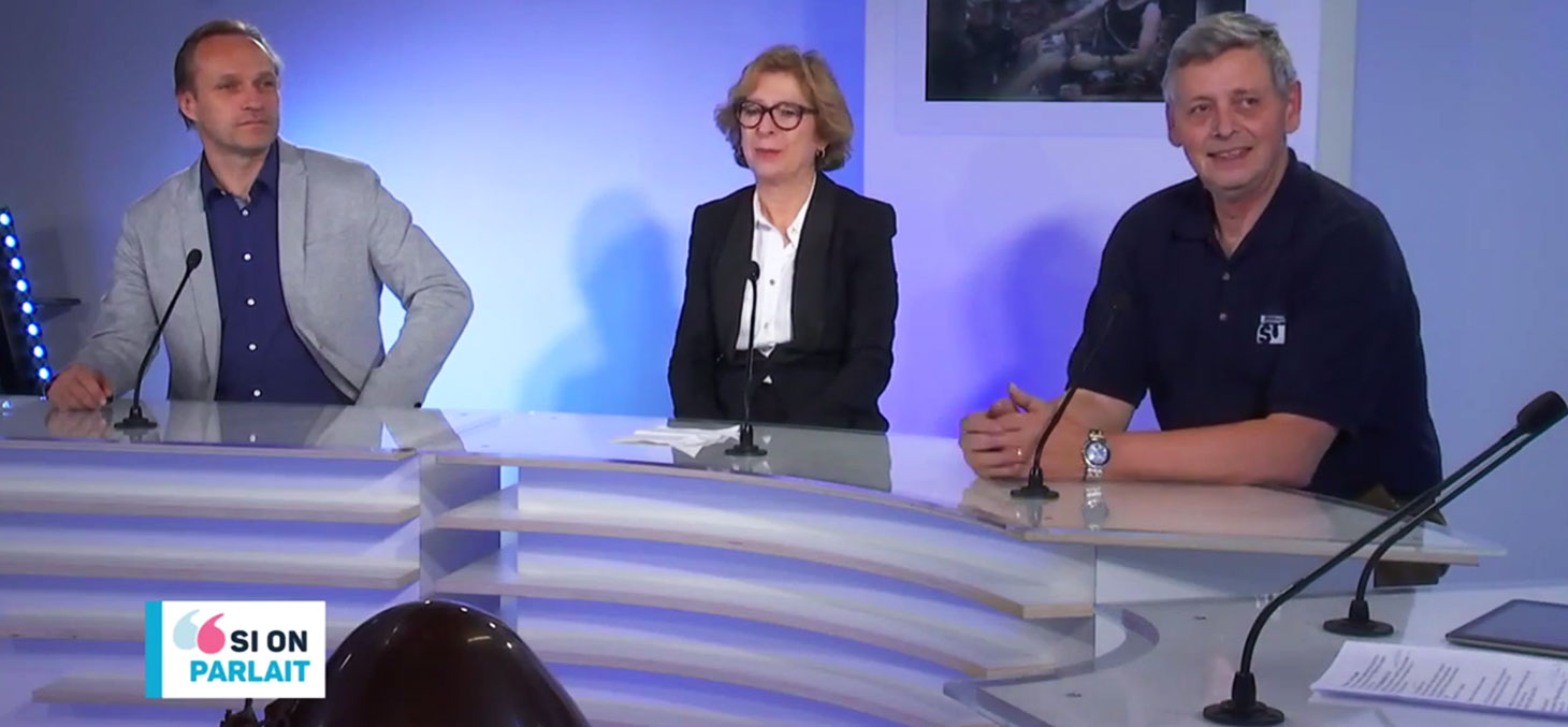 Mathieu Barthélemy, Geneviève Fioraso and Jean-Jacques Favier on set at Télégrenoble